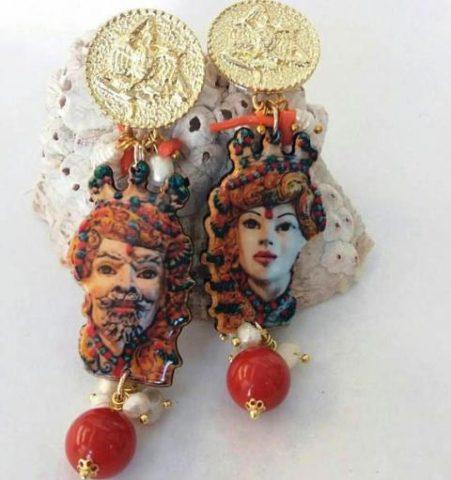sicilian earrings opera dei pupi
