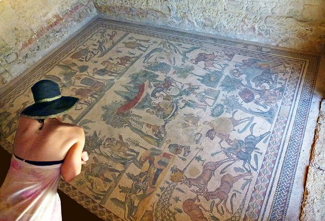 villa romana del casale mosaic on the floor