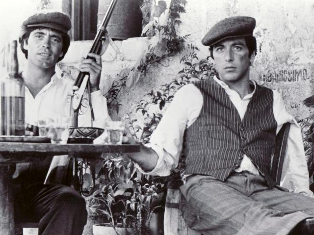 The two protagonists of The Godfather with Siciilian coppola hat